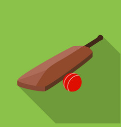 cricket bat and ball icon in flat style isolated vector image
