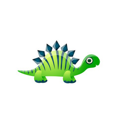 cute adorable green dinosaur with striped blue vector image