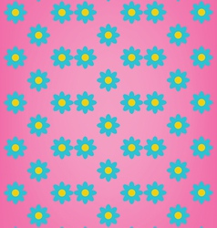 Cute blue flower on pink background pattern vector image