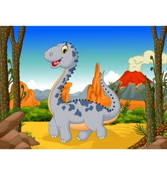 Cute dinosaur cartoon with volcano landscape back vector