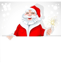 Cute Santa Claus holding large horizontal banner vector