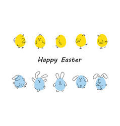 Easter borders with funny bunnies and chicks vector