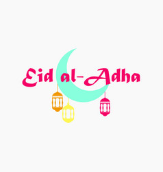 Eid al-adha crescent with hanging lantern kurban vector