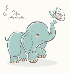 elephant with butterfly cute animal drawing vector image