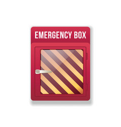 Empty emergency box red box with glass front vector