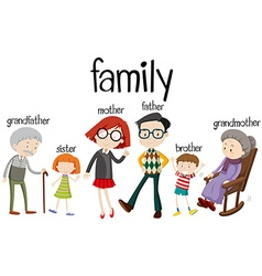 Family members with three generations vector