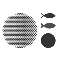 Fish halftone filled circle collage vector