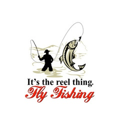Fly fisherman catching trout with reel vector