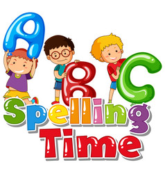 font design for word spelling time with kids and vector image