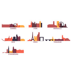 france cities icons set skyline logo pack vector image