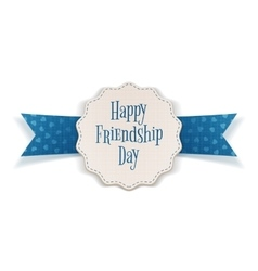Friendship Day realistic Emblem with Text vector image