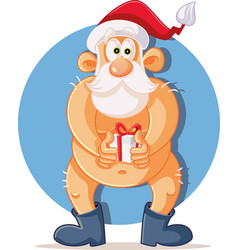Funny naked santa claus holding christmas present vector