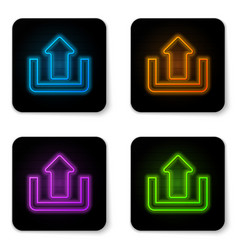 glowing neon upload icon isolated on white vector image