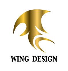 golden animal wing logo design vector image