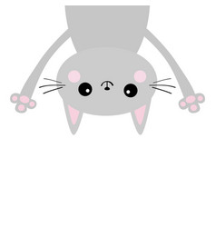 gray funny cat head silhouette hanging upside vector image