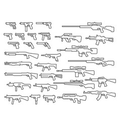 guns weapons set in thin line style vector image