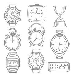 Hand drawn wristwatch doodle sketch watches vector