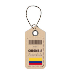 hang tag made in colombia with flag icon isolated vector image
