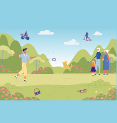 Happy people pastime in green city public park vector