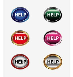 Help button icon isolated set vector
