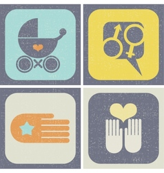 Icons set for family life vector image