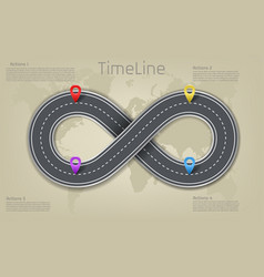 infographic world map road timeline layout vector image