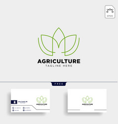 Letter m and leaf aco logo template icon element vector