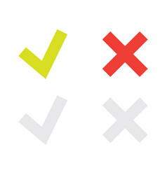 Line green check mark or check box icons set vector