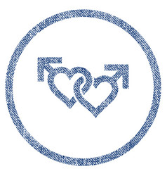 linked gay hearts rounded fabric textured icon vector image