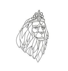 lion princess wearing tiara mosaic black and white vector image