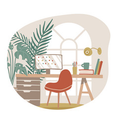 living room home interior hygge workspace with vector image