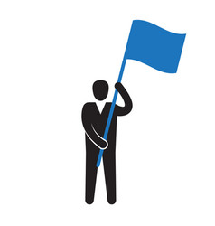 man holding flag success concept vector image