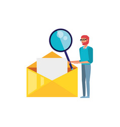 man with search magnifying glass in envelope mail vector image