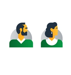 Man woman side view half face head clerk service vector
