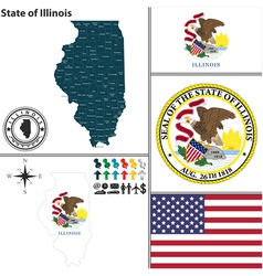 map illinois with seal vector image