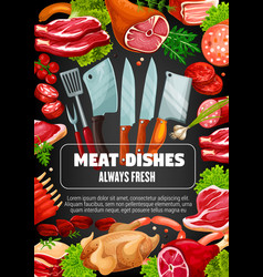 Meat sausage dishes butcher cooking cutlery vector
