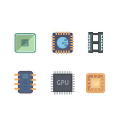 Microprocessor and electronic chips icons set vector