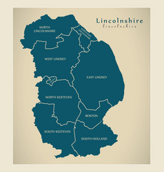 Modern map - lincolnshire county with detailed vector