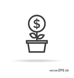 money tree outline icon black color vector image