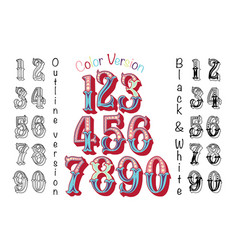 numbers colourful set in vintage retro style vector image