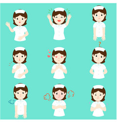 nurse with different emotions cartoon vector image
