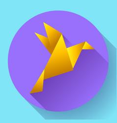orange origami bird art icon vector image