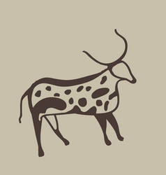 Painting of an ancient antelope on a cave wall vector