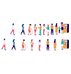 people waiting in line at atm machine vector image