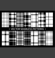 Plaid pattern seamless ornate set black white vector