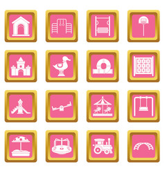 Playground icons pink vector