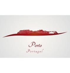 Porto skyline in red vector