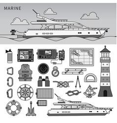 powerboat in sea line monochrome vector image