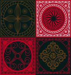 red ornamental scuares vector image