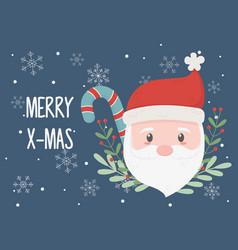 santa claus face celebration happy christmas vector image